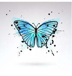 Decorative bright blue butterfly vector