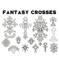 design set with fantasy crosses 3 vector image