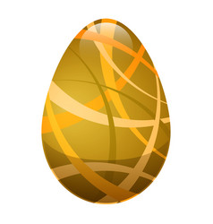 easter egg with ornamental lines in golden colors vector image