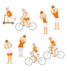 Elderly people doing exercises vector