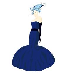 Elegant girl in fluttering blue dress vector