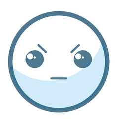 Emoticon angry face kawaii character icon vector
