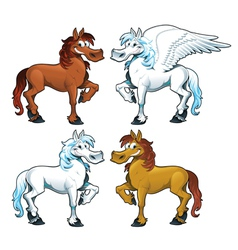 Family of horses and the Pegasus vector image vector image
