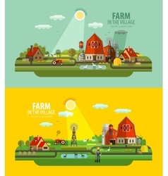 Farm in the village set of elements - barn vector