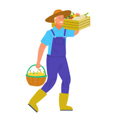 Farmer carrying basket full fresh vegetables vector