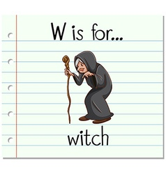Flashcard letter W is for witch vector