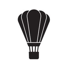 flat black cartoon icon hot air ballon vector image