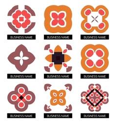 Flat geometric business symbols icon set vector