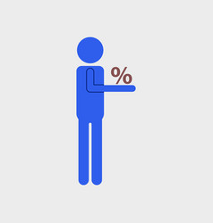 Flat icon of human discounts percent vector