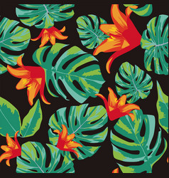 flowers orange and green leaves seamless vector image