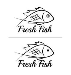 fresh fish logo symbol sign black colored set 3 vector image