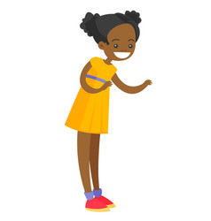 full length of little african-american girl vector image
