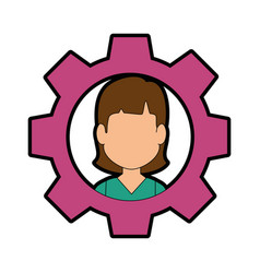 Gear with woman face icon vector