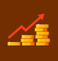 Growing stack golden dollar coins with rising vector