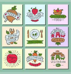 hand drawn style of bio organic eco healthy food vector image