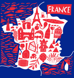 Hand drawn stylized map france travel with vector