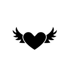 heart with wings black icon sign on vector image