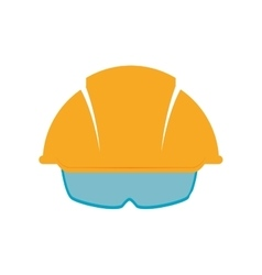 Helmet glasses constructer worker industry icon vector