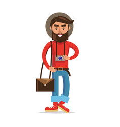 Hipster tourist with camera cartoon character vector