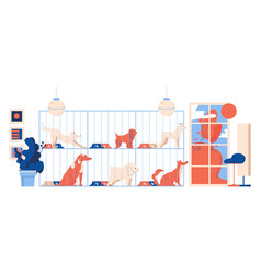 interior dog shelter puppies look out vector image