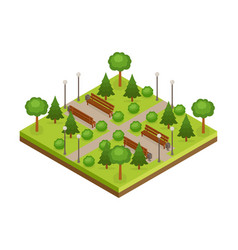 isometric green city park with trees alleys and vector image