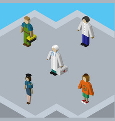 Isometric human set of lady male plumber and vector