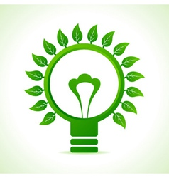 Leaf around the green bulb vector image