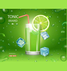 Lime juice poster with ice cubes mojito cocktail vector