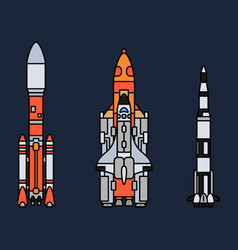 line color icon set elements of aerospace vector image