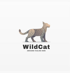 Logo wild cat gradient colorful style vector