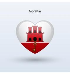 Love Gibraltar symbol Heart flag icon vector