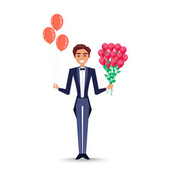 Man holding inflatable balloons and rose bouquet vector