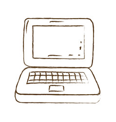 Monochrome hand drawn silhouette of laptop vector