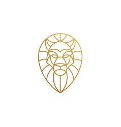 Outline emblem geometric lion head hand drawn vector