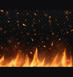 Realistic fire with sparks burning campfire vector