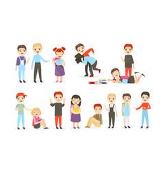 school bullying flat set vector image