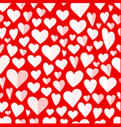 seamless pattern o hearts on red vector image
