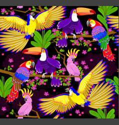 Seamless pattern ornament with fantasy tropical vector