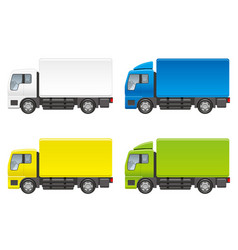 set of four trucks on a white background vector image