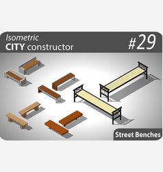Set of modern isometric street benches vector