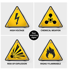 set of yellow warning signs vector image