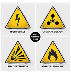 set yellow warning signs vector image