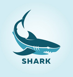 Shark character silhouette shark icon side view vector