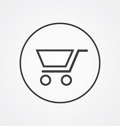 Shopping cart outline symbol dark on white vector