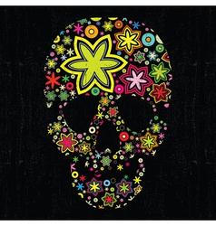skull in flowers vector image vector image