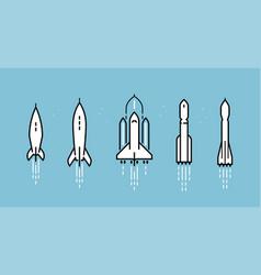 Space rocket icon set spacecraft launch vector