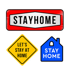 stay home home sticker set symbol vector image