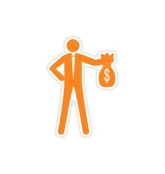 Stylish sticker on paper man with bag money vector