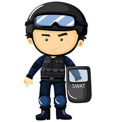 SWAT in protection uniform vector