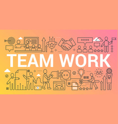Team work word trendy composition concept banner vector